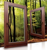 Деревянное евроокно с двух камерным стеклопакетом